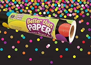 Teacher Created Resources Colorful Confetti on Black Better Than Paper Bulletin Board Roll (TCR77037)