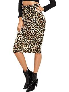 WDIRARA Women s Casual Ruffle Belted Leopard Print High Waist Knee Length  Skirt dcd9aaf6c