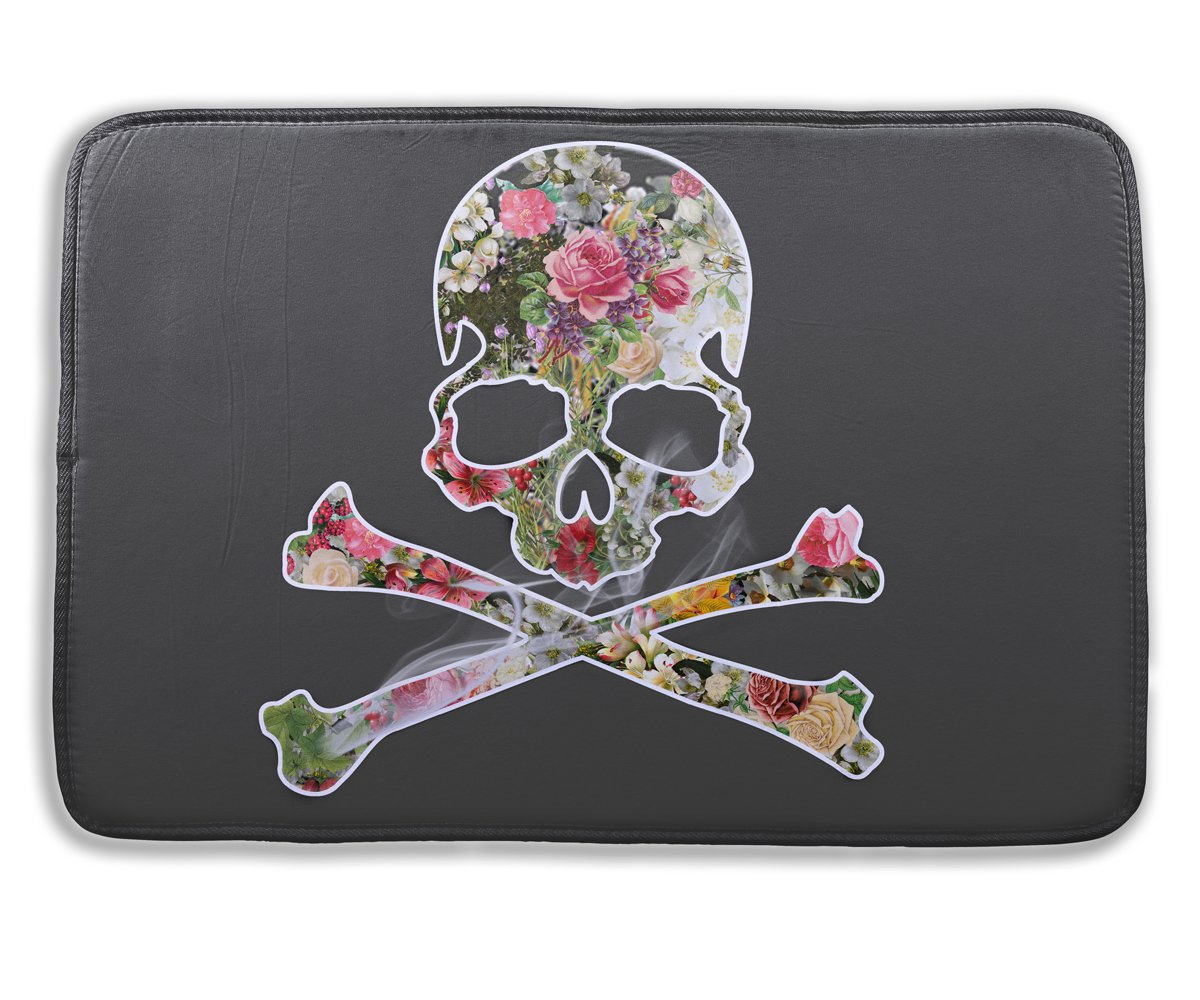 Black Floral Pirate Skeleton Bath Rug, 3D Printed Anti Slip Non Bacterial Soft Bathroom Mat Carpet for Kids Safety Memory Foam, Halloween Christmas Birthday Gifts Home Decorations, 15.7 X 23.6 inch