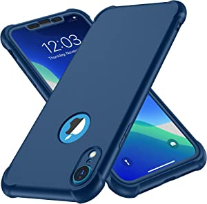 ORETECH Designed for iPhone XR Case, with[2 x Tempered Glass Screen Protector] 360 Full Body Shockproof Anti Scratch Protection Cover Hard PC Soft Rubber Silicone Case for iPhone XR 6.1'' 2018 Blue