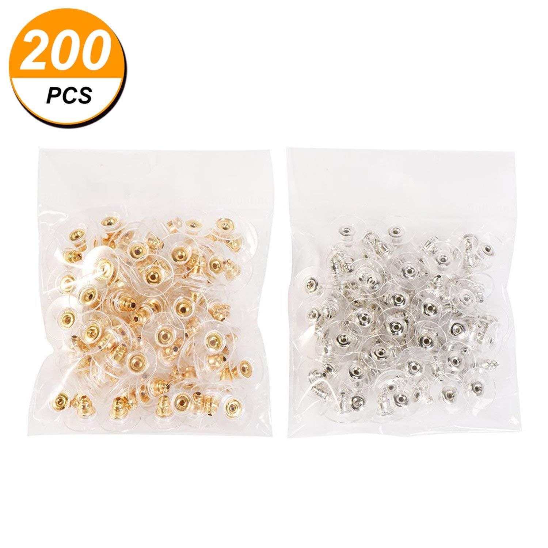 100/paia proiettile frizione orecchino backs con pad Earring Safety backs TONVER orecchino Bullet fermatende argento e oro
