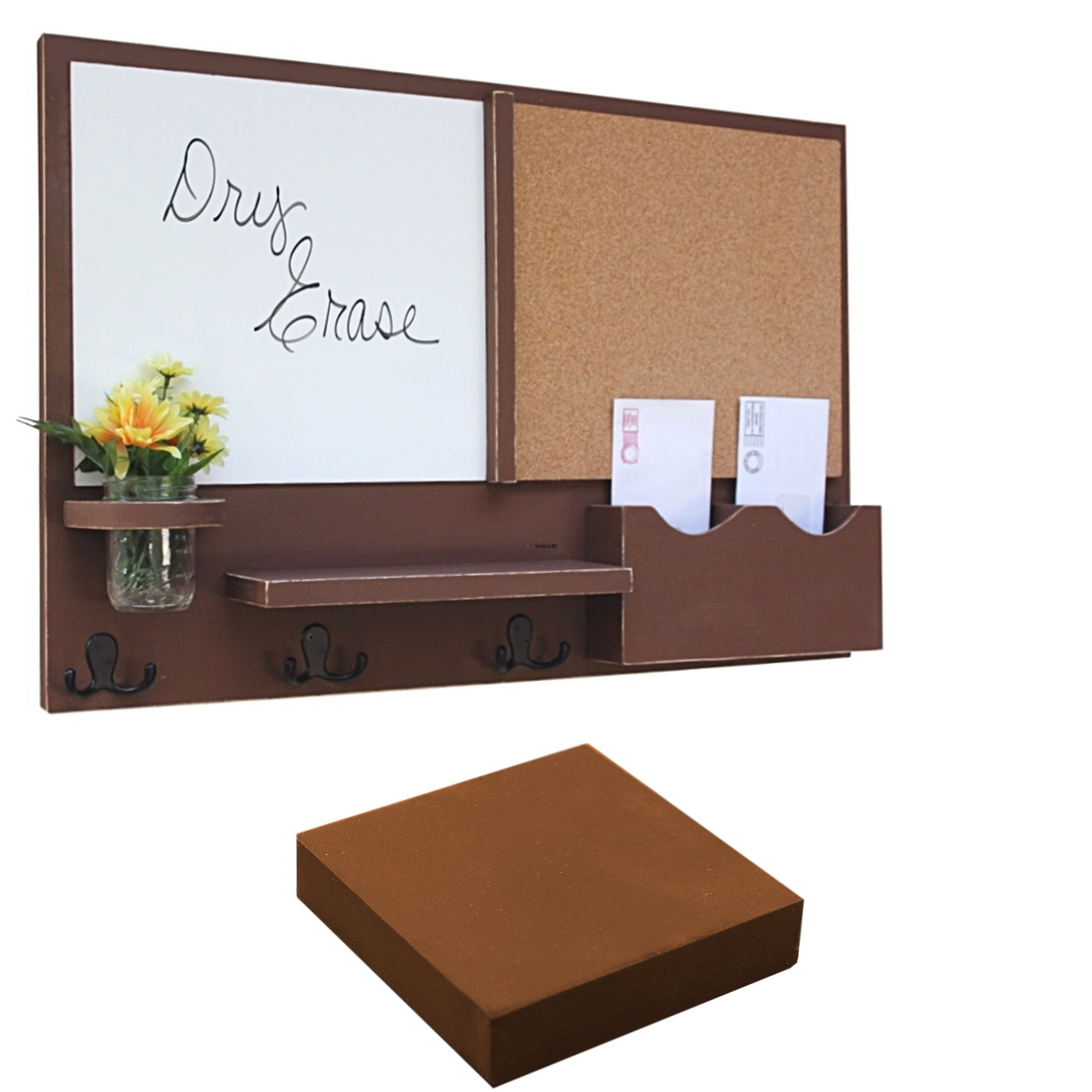 Legacy Studio Décor Message Center with White Board & Cork Board Letter Holder Coat Rack Key Hooks (Smooth, Chocolate)