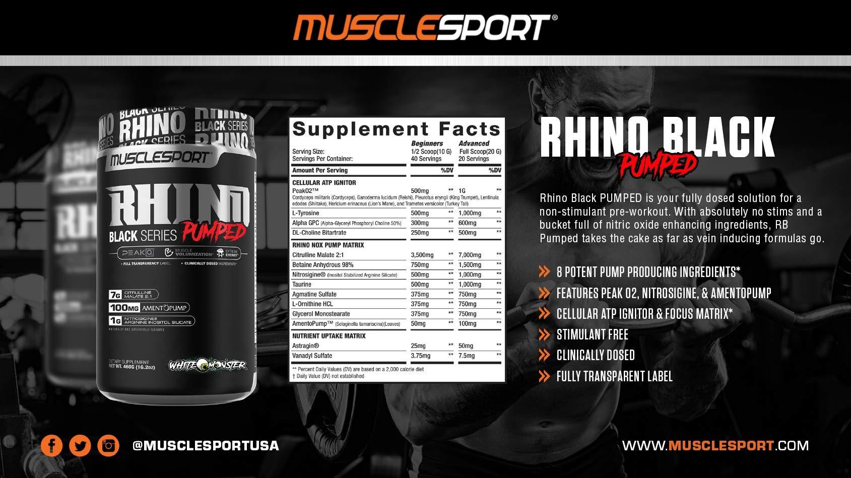 Rhino Black® Pumped, Stimulant Free, Pre Workout Powder, Nitric Oxide Booster, Pumps, Lean Muscle Mass, Nitrosigine, Citrulline, Focus (400 Grams, Jungle Juice)