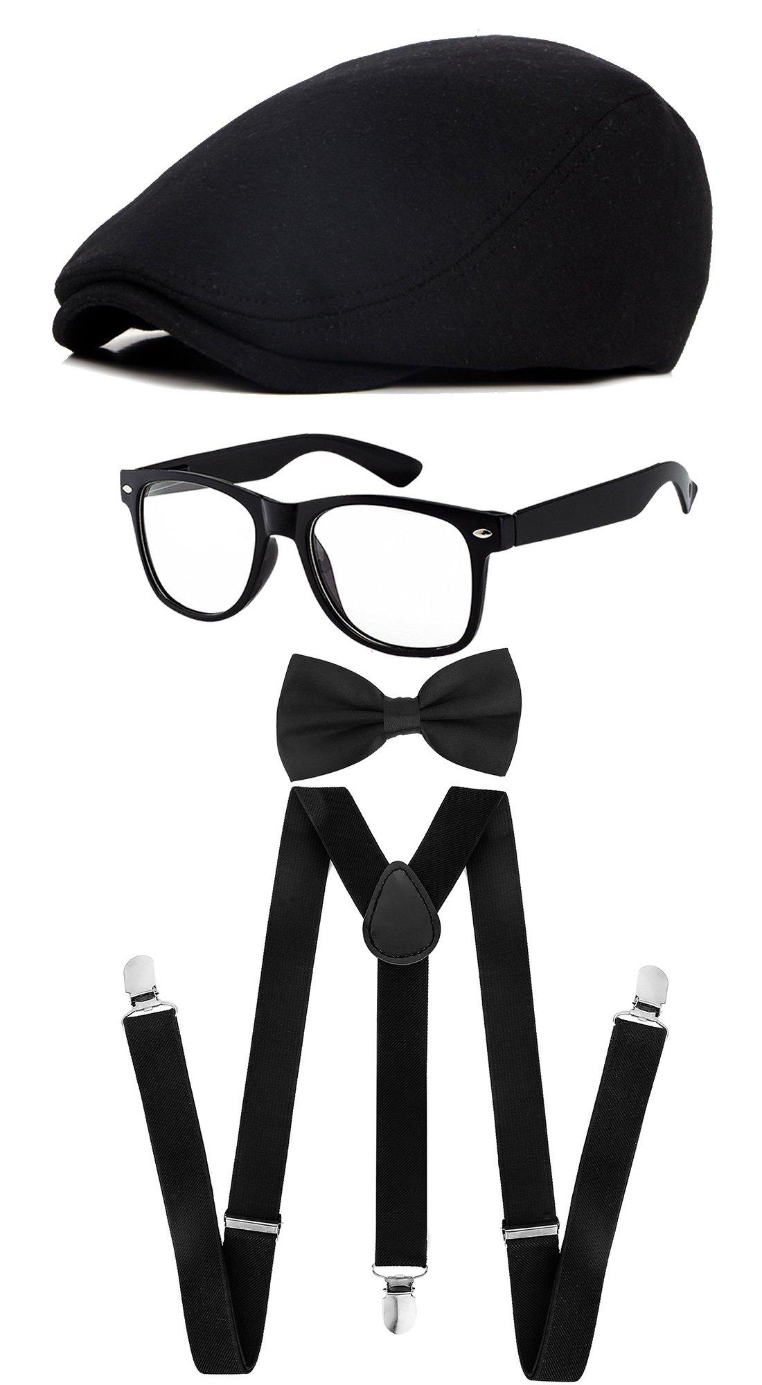 Classic Gatsby Newsboy Ivy Hat,Suspenders Y-Back Trouser Braces,Pre Tied Bow Tie,Non Prescription Glasses (Cotton - Black)