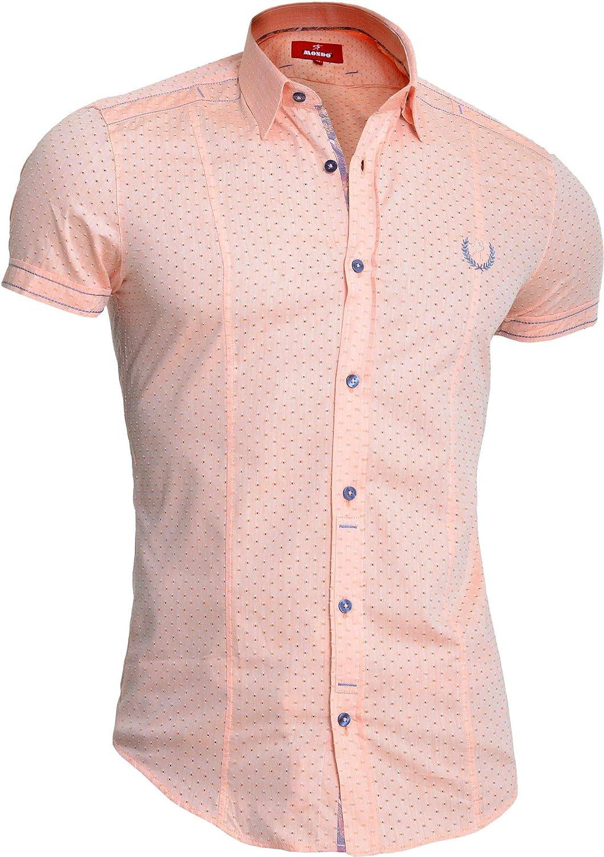 Camisa de Manga Corta para Hombre Mondo algodón Naranja Color Coral Slim Bordado: Amazon.es: Ropa y accesorios