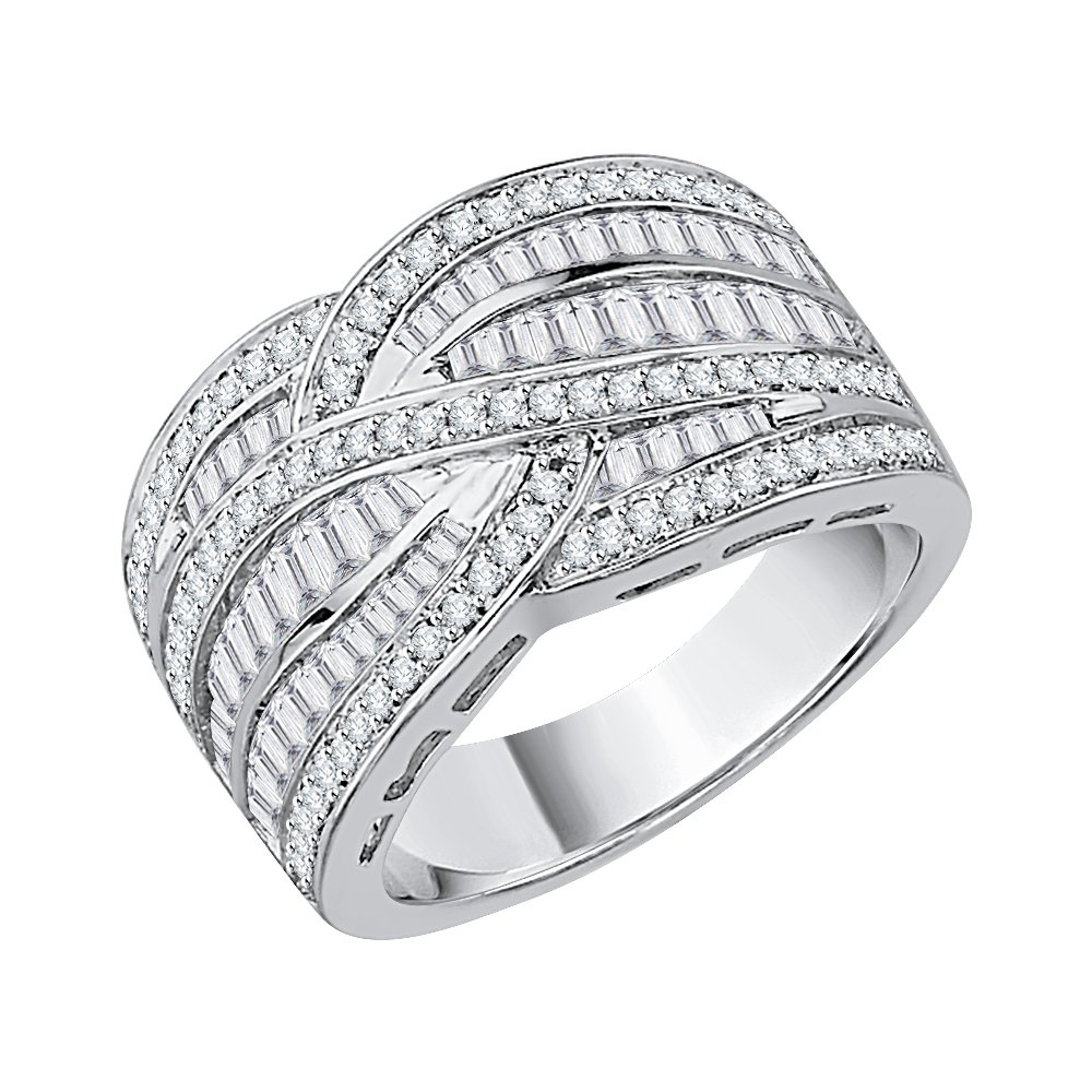 Baguette and Round Cut Diamond Anniversary Ring in Sterling Silver (1 cttw) (GH-Color I1 Clarity) (Size-8.5)