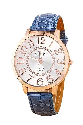 Reloj de pulsera - Batti ZA-23 reloj de pulsera unisex de cuero de imitacion de estras de numeros grandes azul oscuro: Amazon.es: Relojes