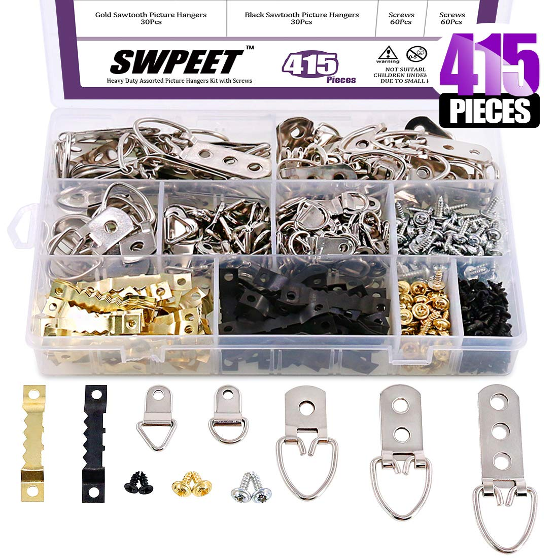 Swpeet 415 Pcs Heavy Duty Assorted Picture Hangers Kit with Screws, Picture Hangers Assortment Kit for Picture Hanging Solutions with Transparent Box - 7 Models by Swpeet