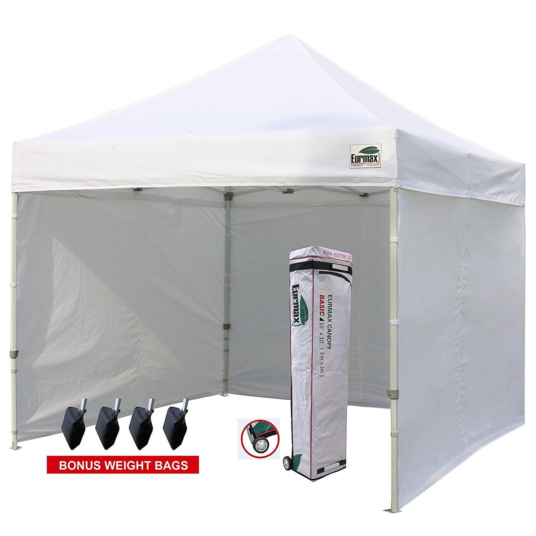Amazon.com  Eurmax 10u0027x10u0027 Ez Pop-up Canopy Tent Commercial Instant Tent with 4 Removable Zipper End Side Walls and Roller Bag Bonus 4 SandBags (White) ...  sc 1 st  Amazon.com & Amazon.com : Eurmax 10u0027x10u0027 Ez Pop-up Canopy Tent Commercial Instant ...