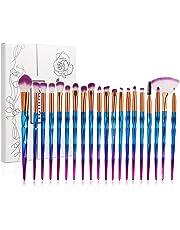 Tenmon 20 pcs Unicorn Eyeshadow Eyeliner Blending Crease Kit Makeup Brushes Make Up Foundation Eyebrow Eyeliner Blush Cosmetic Concealer Brushes (Blue)