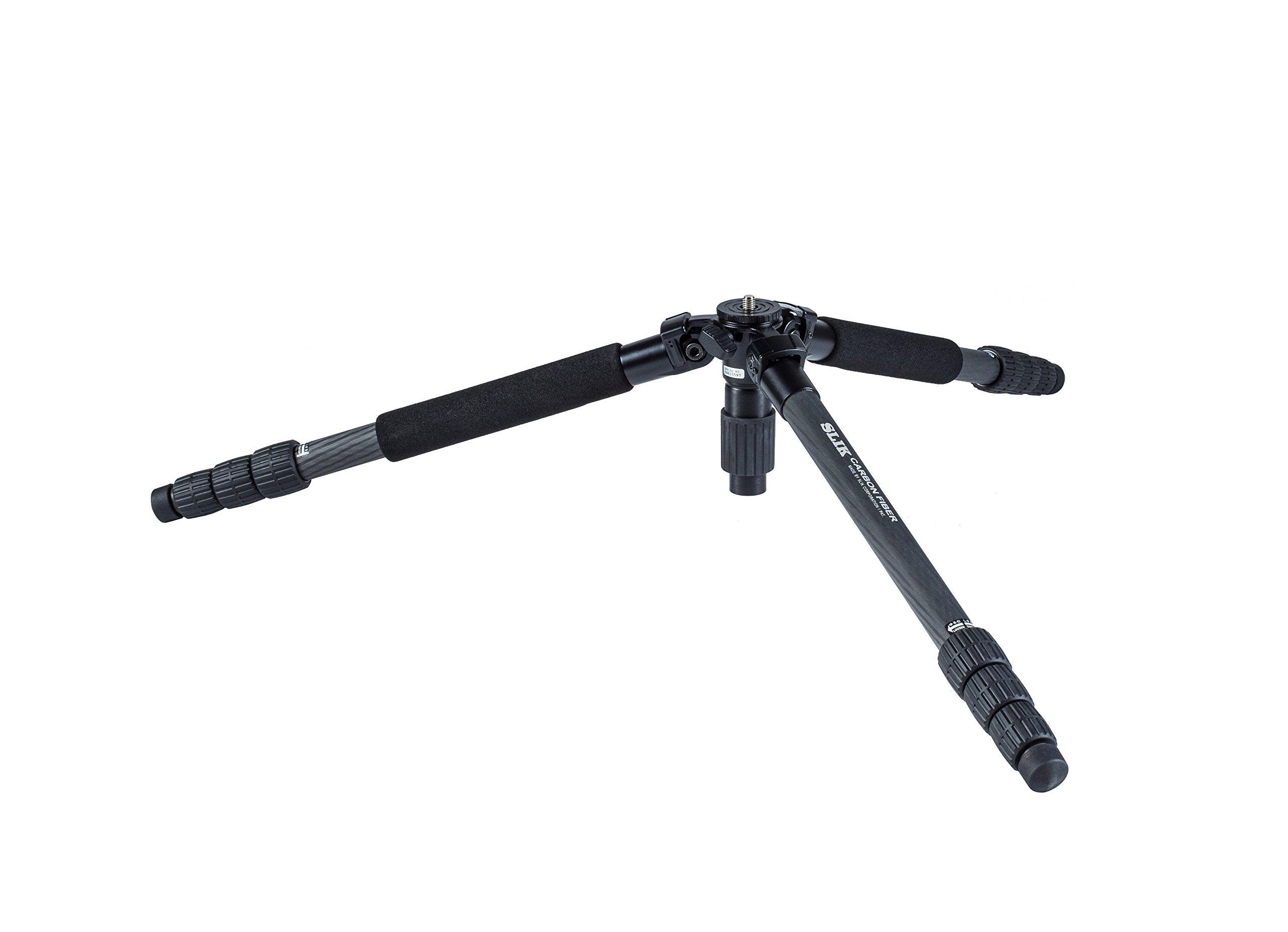 SLIK Pro 824 CF 4-Section Carbon Fiber Tripod - Black by Slik (Image #4)