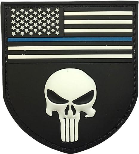 spaceauto 3d pvc de goma Shield forma americana bandera W/Policía Fina línea azul calavera de aplicación de la ley Militar ejército Tactical moral parche insignia bajo de 3,35 cm x 3.74