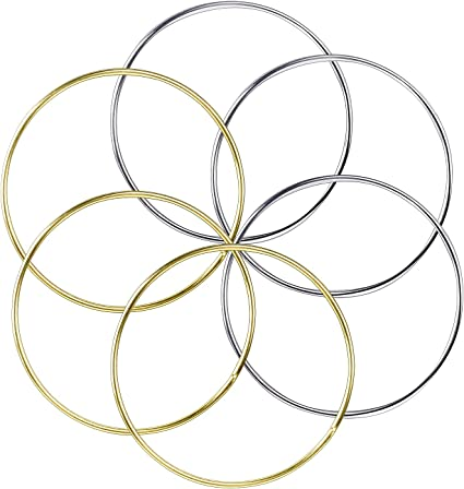 5 Inch 4 Inch 2 Inch Gold and Silver 6 Inch 3 Inch BronaGrand Set of 10 Pieces Assorted Metal Hoops Metal Rings for Dream Catcher and Crafts