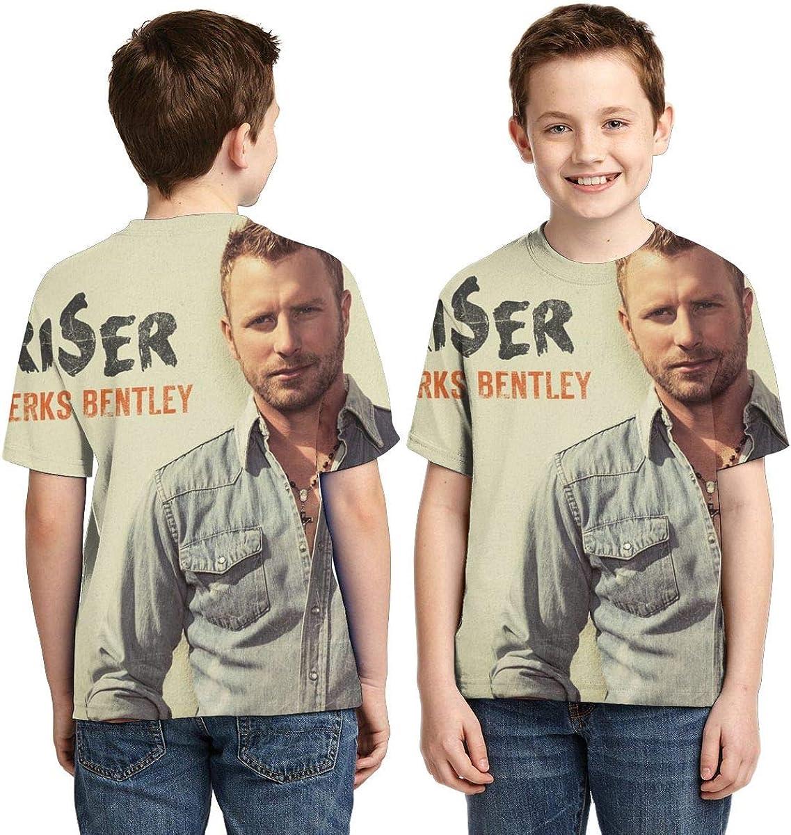 BowersJ Childs Dierks Bentley Riser Design 3D Printed Short Sleeve T Shirts for Girls /& Boys Black