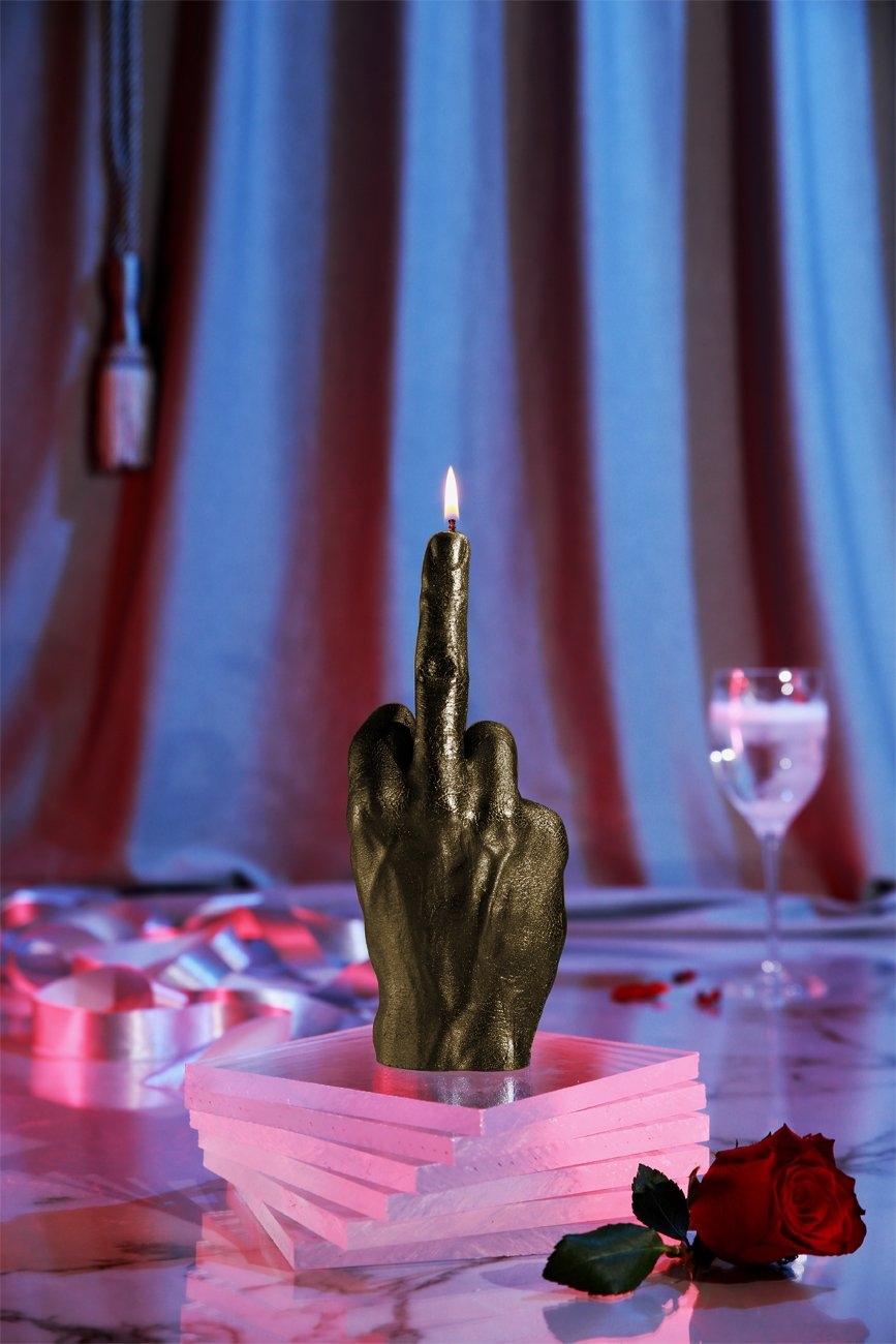 Give him the middle finger candle
