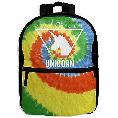 good My Patronus Is A Unicorn Tie-dye School Backpack Travel Bags Bookbag For Kids