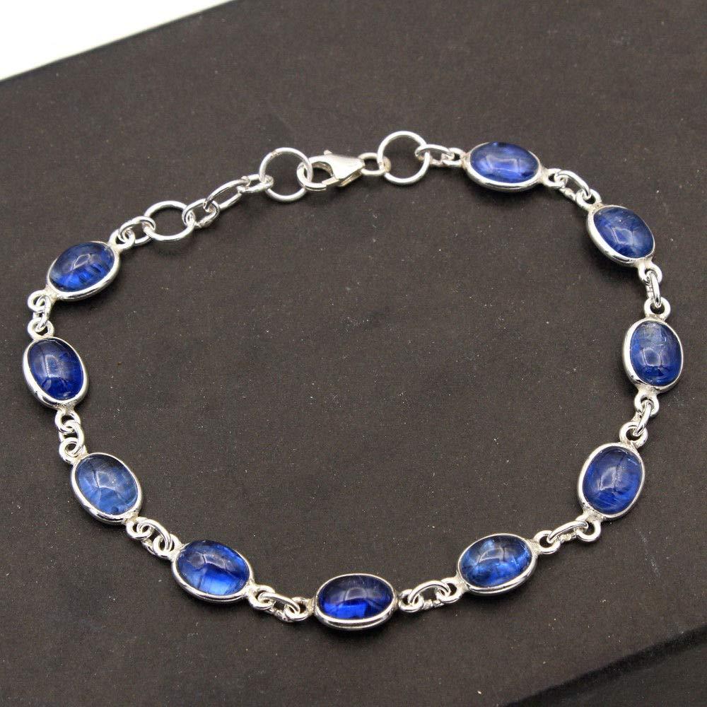Christmas Special Natural Kyanite Gemstone Bracelet 925 Sterling Silver Jewelry Designer Bracelet Handmade Jewelry Womens Bracelet Silver Jewelry