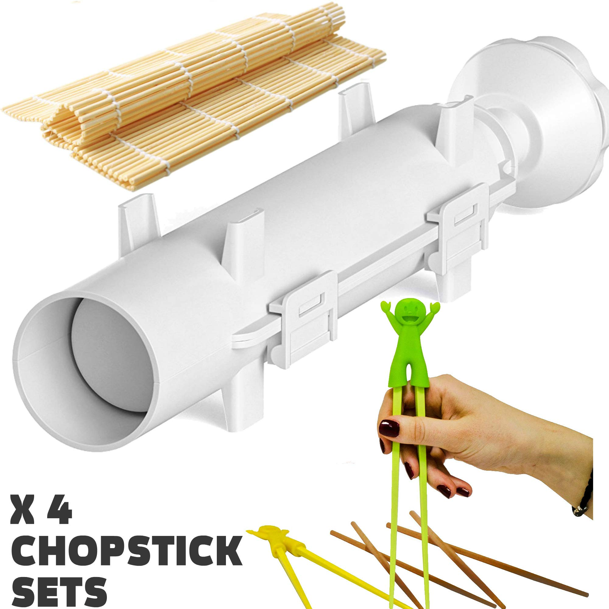 Sushi Bazooka, Sushi Mat and Two Sets of Bamboo Chopsticks and Silicone Helper (Training) Chopsticks,Kitchen Appliance Machine Rice Roller Making Kit by Cook&Life