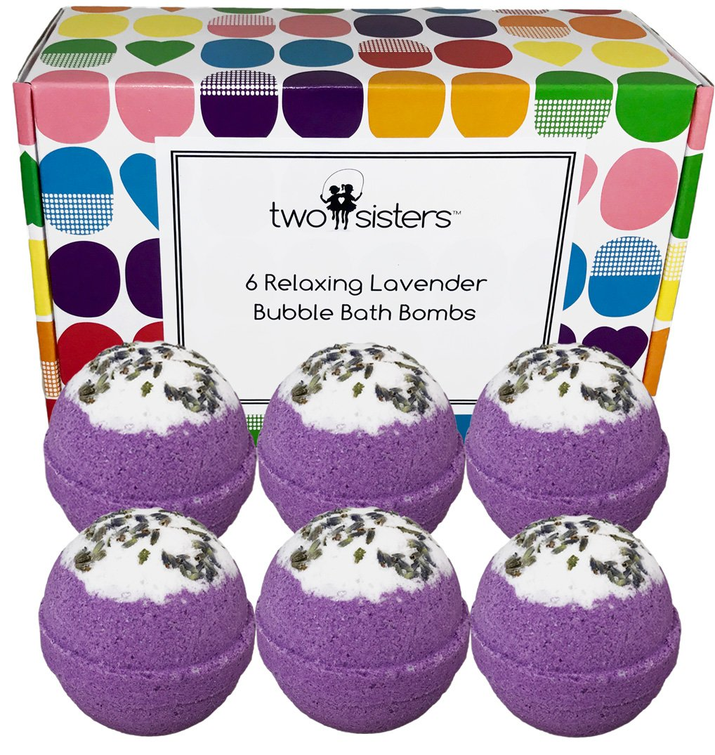 6 Relaxing Lavender BUBBLE Bath Bombs Gift Set - Large Lush Spa Fizzy Kit, Gift Idea for Women, Moms, Teens, Girls - Homemade by Moms in the USA - Two Sisters Spa - Lavender Essential Oil Sweet Dreams