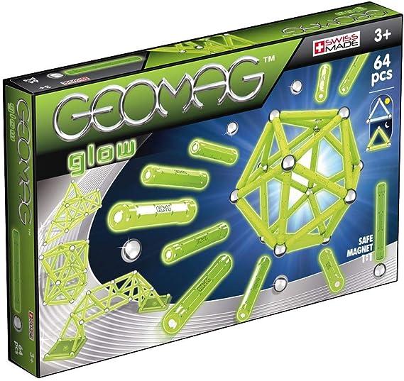 Geomag Glow Construcciones magnéticas y juegos educativos, 64 piezas (336), Multicolor