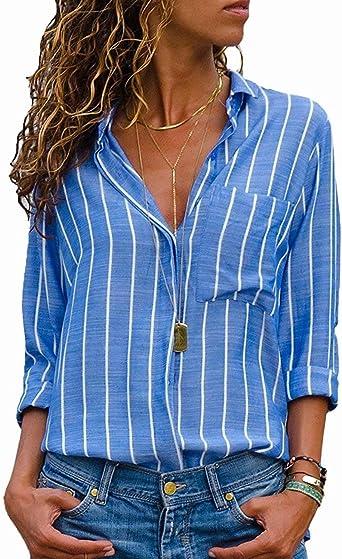AitosuLa Blusa de Rayas para Mujer, Camisa de Cuello en V, Suelta, Casual, Gasa de Manga Larga Rayas Azul y Blanco. L