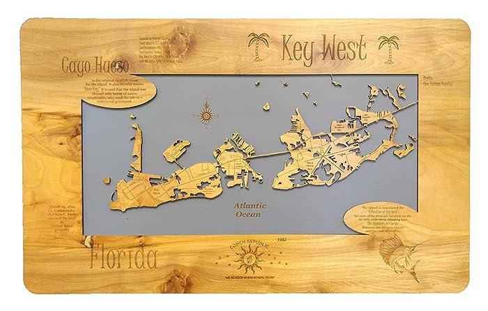 Map Key West Florida.Amazon Com Key West Florida Standout Wood Map Wall Hanging Handmade
