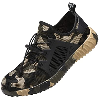 MDDYF Steel Toe Indestructible Work Shoes for Men Women Lightweight Mesh Safety Industrial Construction Shoes(10.5 Women / 9 Men Green/Camo): Shoes