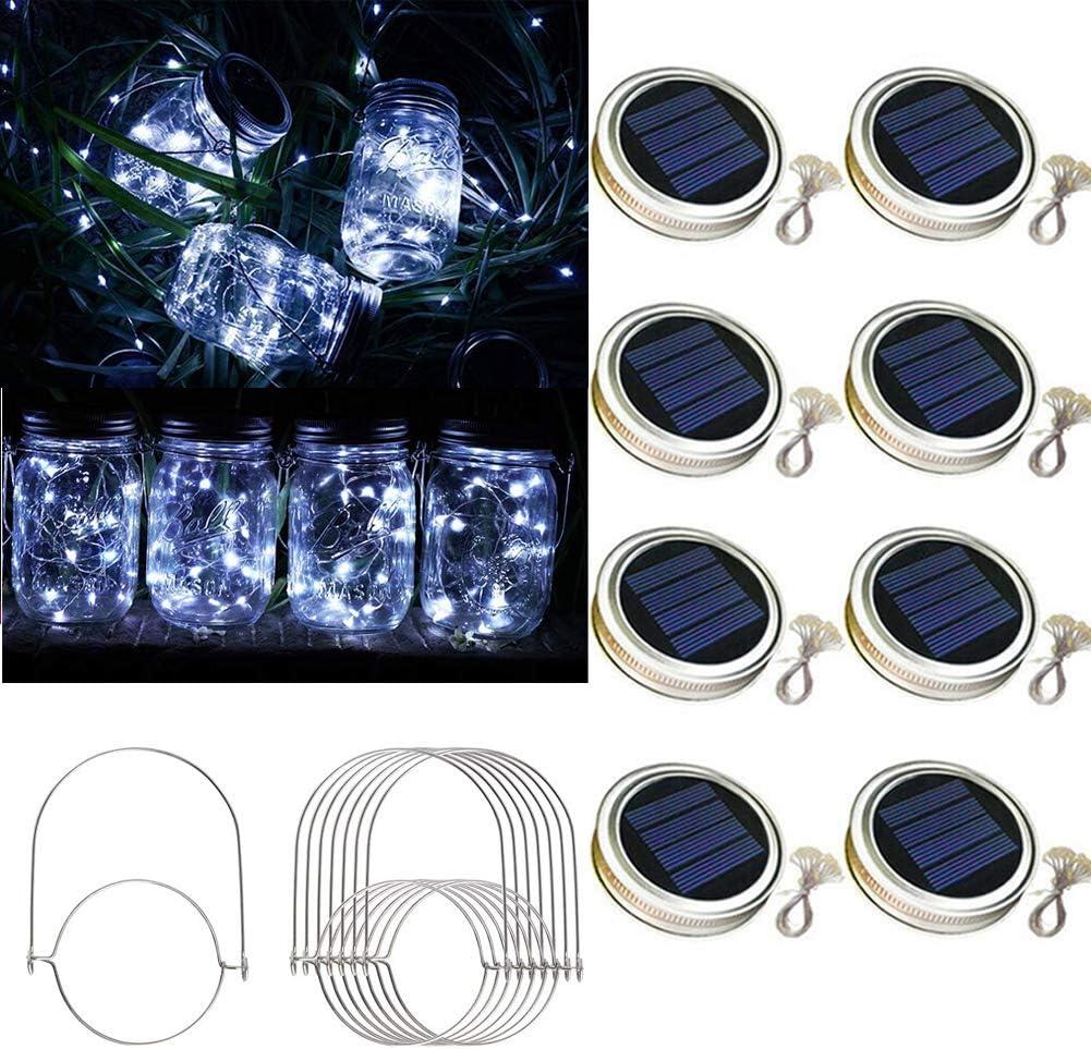 Raincol Solar Mason Jar Lid Lights 8 Pack 30 Led Solar String Light Waterproof Fairy Hanging Lighting Solar Lids Jar Lights with 8 Hangers (No Jars) for Garden Patio Table Wedding Decor,Cold White