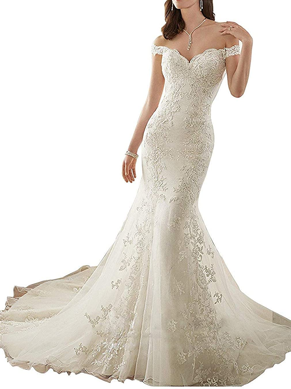 Hidress Women S Mermaid Wedding Dresses For Bride 2019 With Long Train Bq174 At Amazon Women S Clothing Store