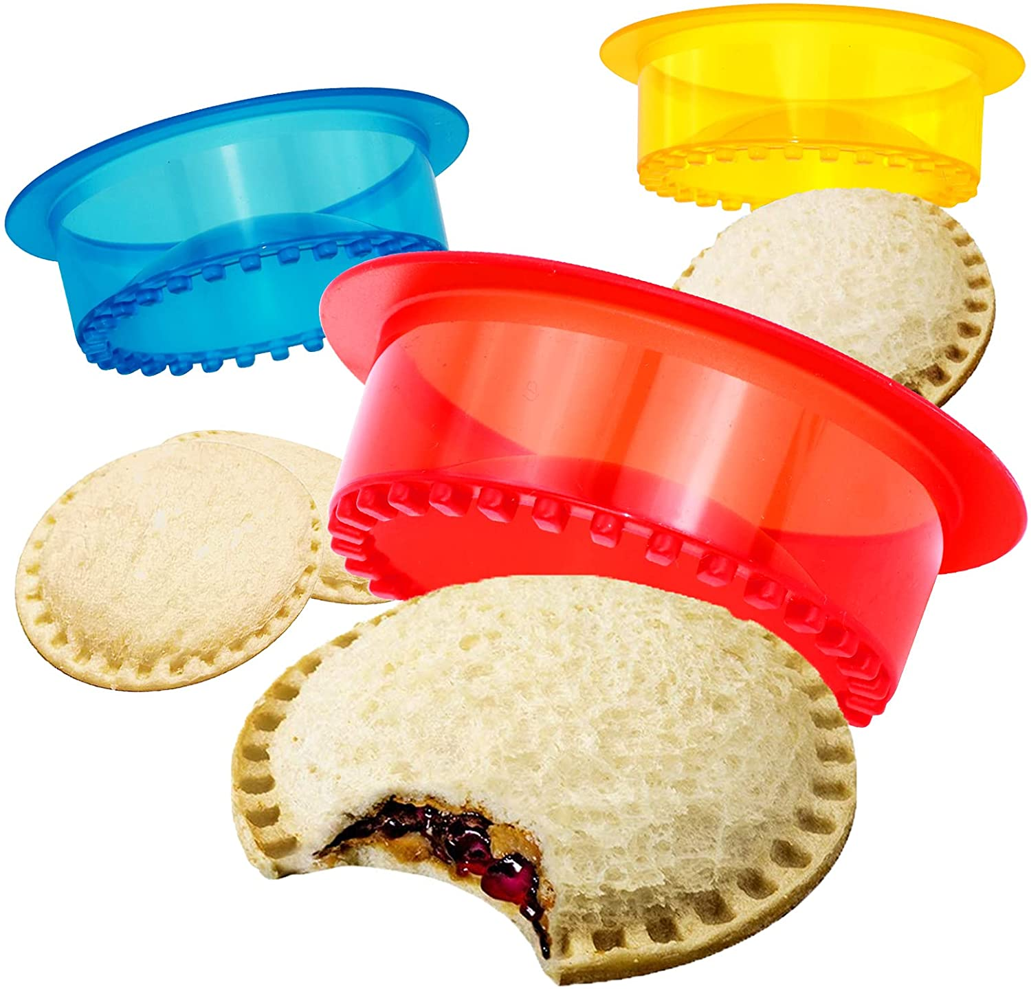 HiYZ Sandwich Cutter and Sealer, Pack of 5 Uncrustables Sandwich Maker for Kids, Bread Sandwich Decruster Pancake Maker DIY Cookie Cutter for Boys and Girls Lunch Lunchbox and Bento Box(Red)