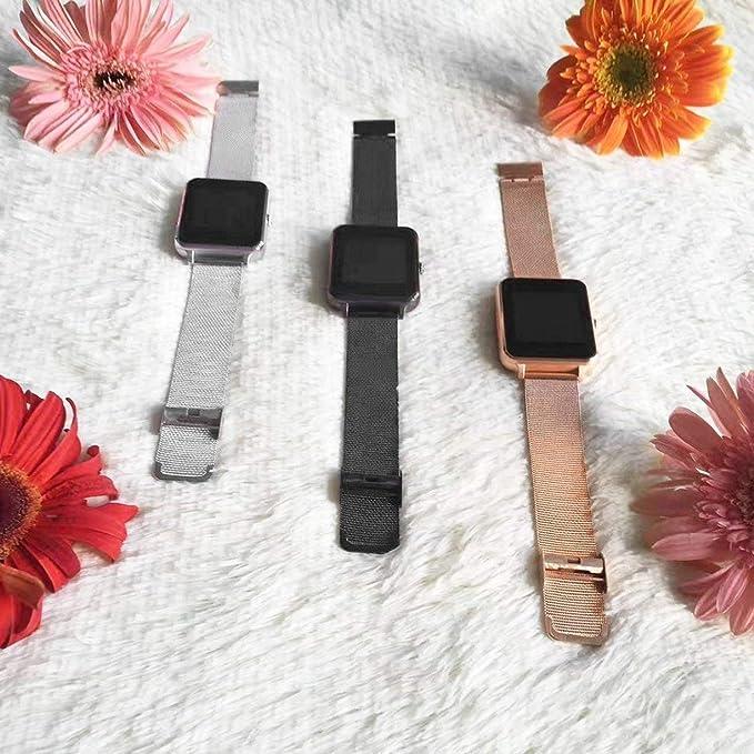 Detectoy Z60 - Reloj Inteligente con Pantalla Bluetooth de 1,54 Pulgadas con Soporte para cámara, Tarjeta SIM TF, Correa de Acero para iOS para Android: ...
