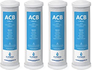 Express Water – 4 Pack Activated Carbon Block ACB Water Filter Replacement – 5 Micron, 10 inch Filter – Under Sink and Reverse Osmosis System