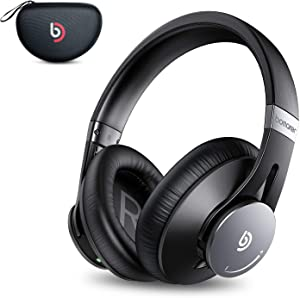 Bomaker Active Noise Cancelling Headphones, Over Ear Headphones Wireless Bluetooth 5.0, CVC 8.0 Microphone, 360°Volume Dial, Hi-Fi Stereo Sound, with Waterproof Case, for Work, Home Office