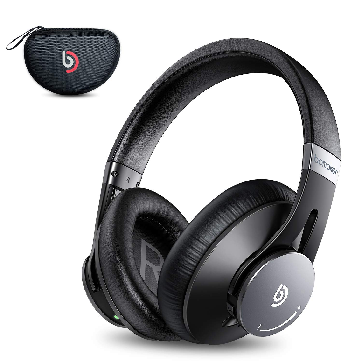 Bomaker Active Noise Cancelling Headphones, Over Ear Headphones Wireless Bluetooth 5.0, CVC 8.0 Microphone, 360°Volume Dial, Hi-Fi Stereo Sound, with Waterproof Case, for PC/Mobile/TV, Black