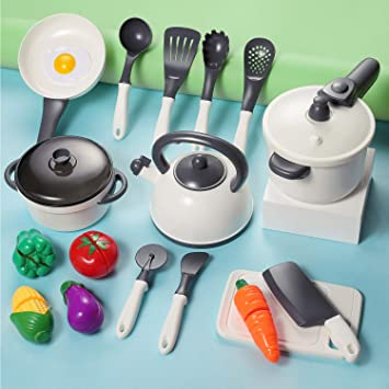 Kids Kitchen Accessories >> Iplay Ilearn Kids Kitchen Accessories Playset Pretend Play Cooking Set Toy Pots N Pans Cookware Utensils Vegetables Gift For 3 4 5 Years Old