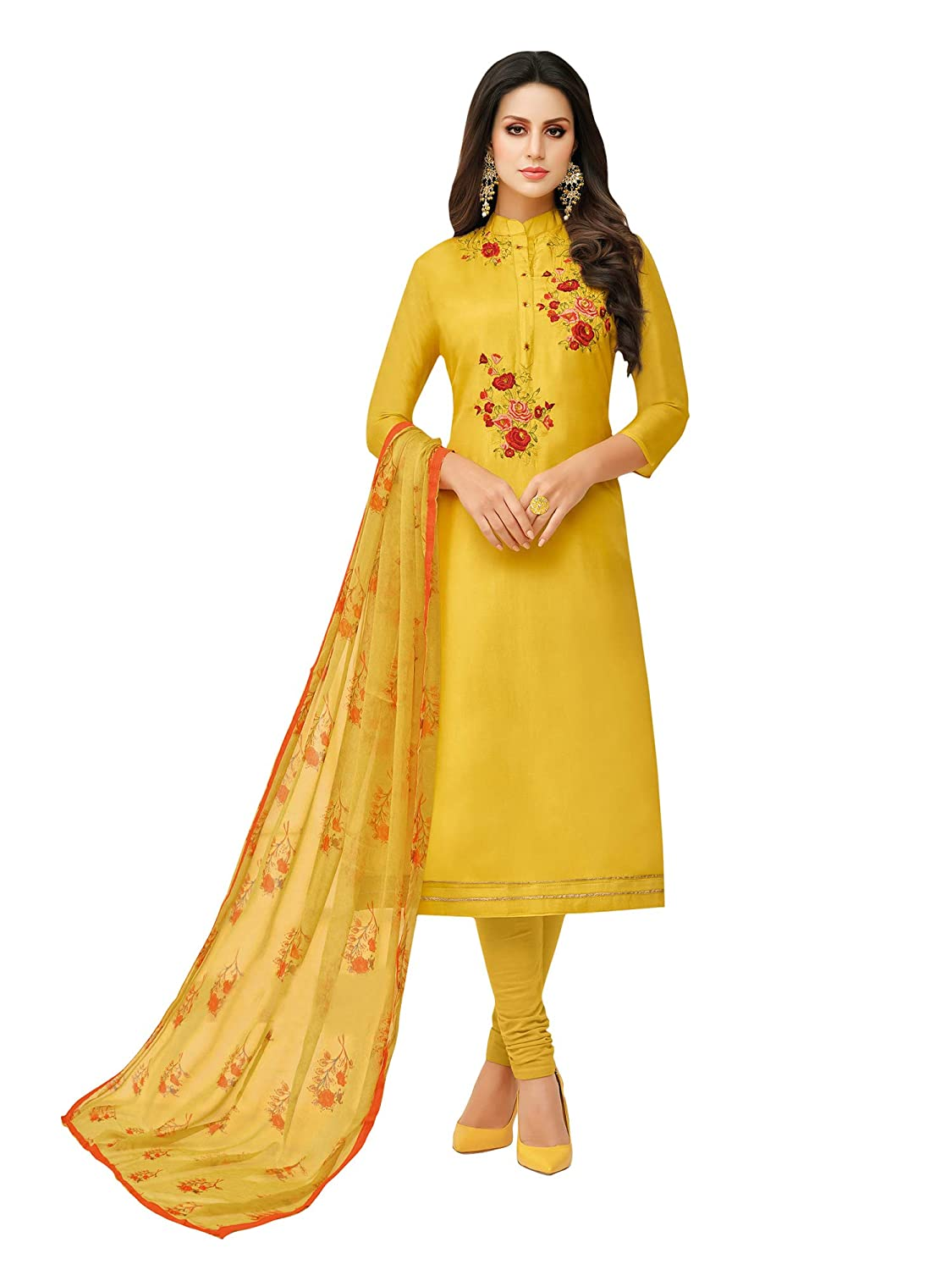AKHILAM Women's Embroidered Chanderi Cotton Semi-Stitched Chudidar Salwar Suit Dress Material with Chiffon Dupatta (Yellow_Free Size)