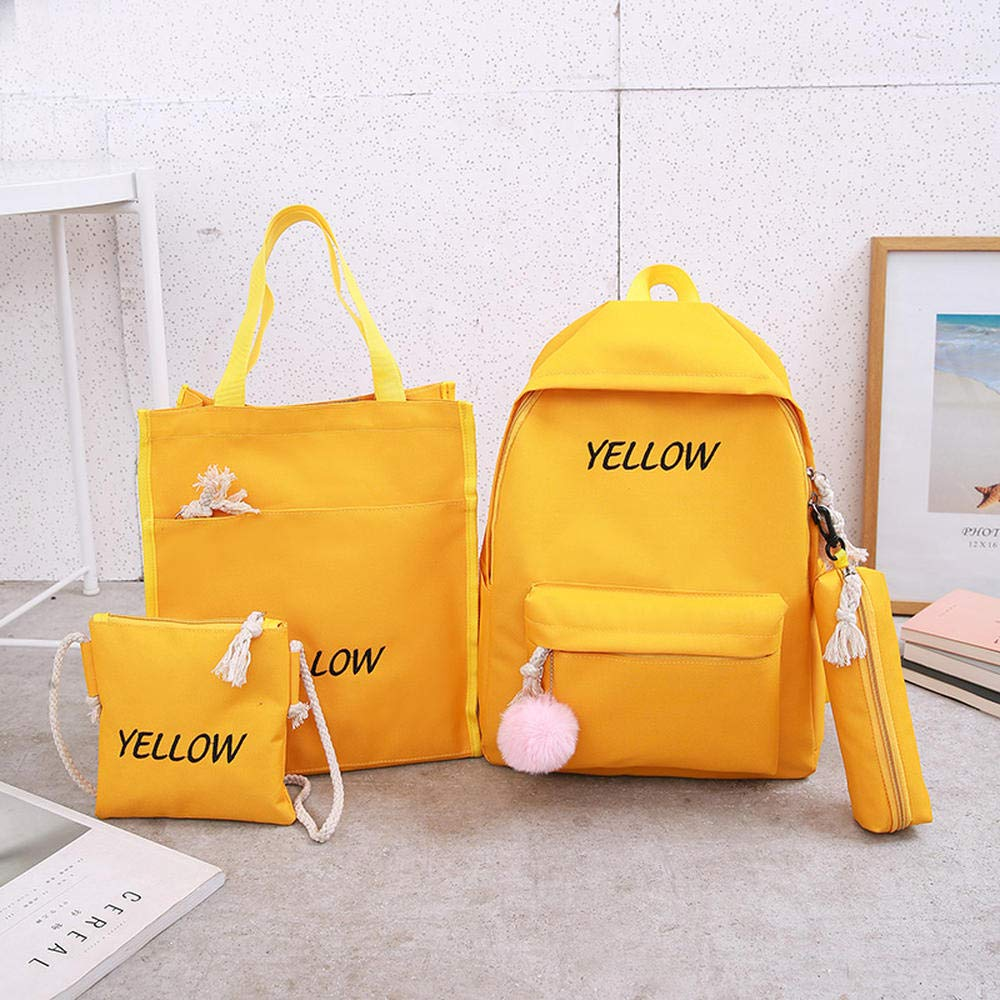 Yellow Authentic guarantee new middle school student bag female Korean version of the wild small fresh student backpack junior high school students campus shoulder bag primary school backpack college wind l