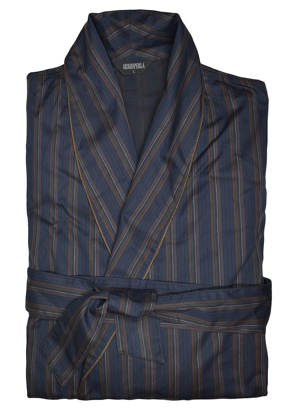 Grigio Perla Brown Striped Cotton Robe