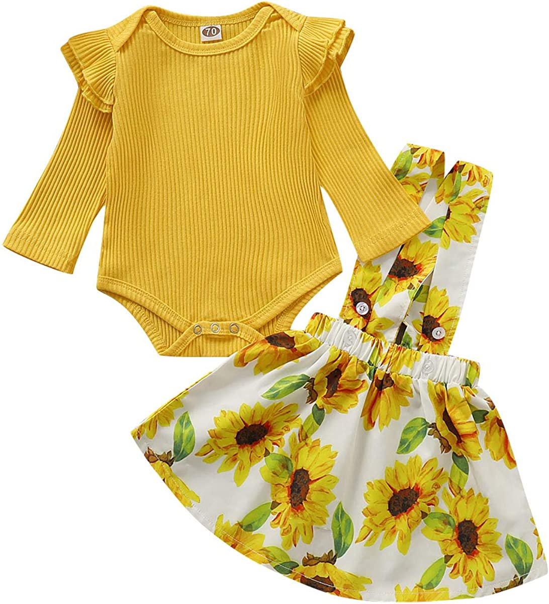 18-24M//SIZE100 2Pcs Baby Girls Dresses Floral Sunflower Long Sleeve T-Shirt Tops with A-line Skirt for Girls Kids Outfits Set