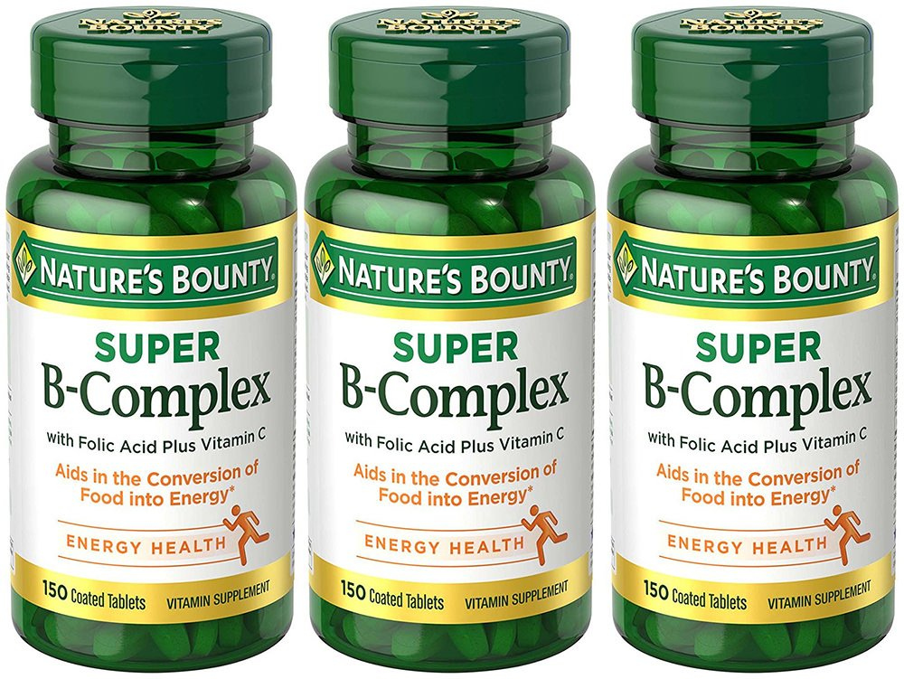 B-Complex with Folic Acid Plus C, 150 Tablets (3 Bottles)