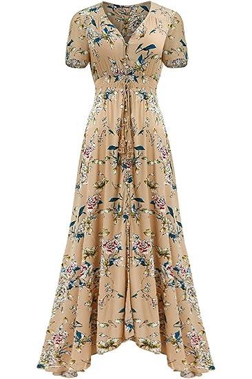 b869957ab678 Bon Rosy Women's Short Sleeve Front Slit Printed Bohemian Maxi Dress Brown  Pink L