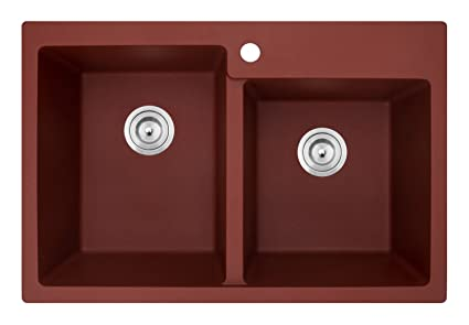 Ruvati 33 x 22 inch epiGranite Dual-Mount Granite Composite Double on bright colored cast iron sink, red double windows, red chest of drawers, cast iron undermount double sink, red ceramic kitchen sinks, red porcelain sink, red toilet, red undermount kitchen sink, red double doors, red double fridge, top mount farm sink, red deep kitchen sink, red cast iron kitchen sinks, red bowl sink, butterfly-shaped honey onyx sink, red kitchen sink hair products, red bathroom, red apron sink,
