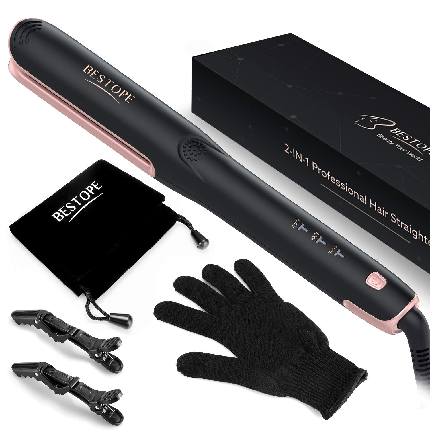 Hair Straightener and Curler, BESTOPE Professional Ceramic 2 In 1 Flat Iron for Hair, 15s MCH Tourmaline Heating Technology with Safer Closed Iron Plate Version by BESTOPE