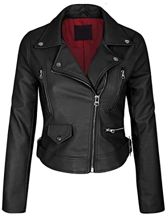 45a280a07ab0 KOGMO Womens Double Breasted Faux Leather Zip Up Jacket-S-Black_RED_Lining