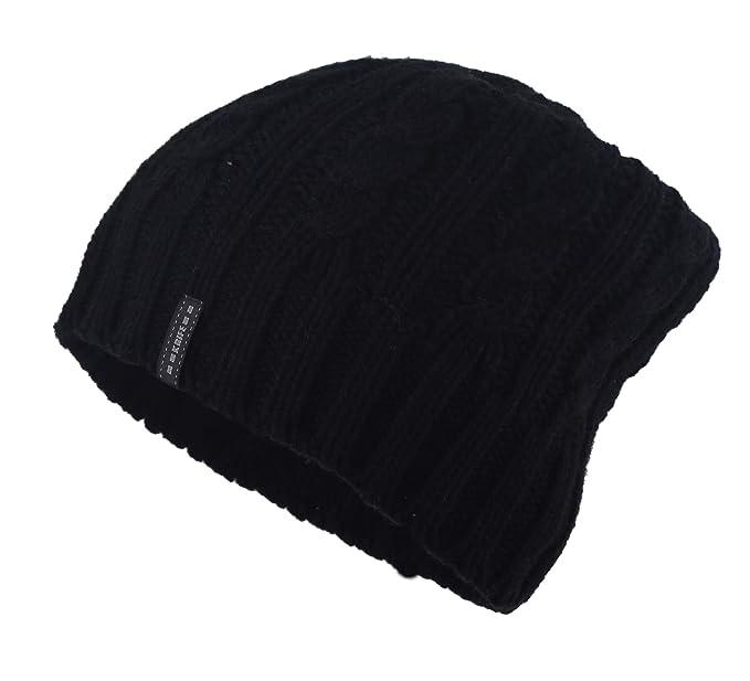 0bb59818d KRIFE Men's Knitted Plain Beanie Hat, L, Black at Amazon Men's ...