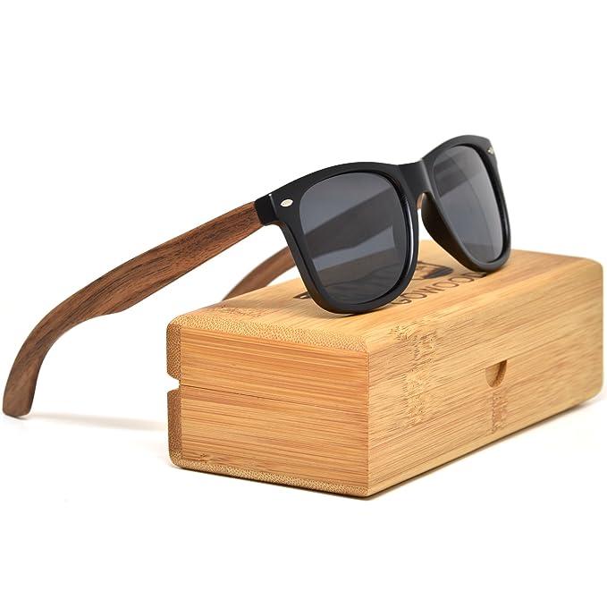 GOWOOD Gafas de sol de madera de nogal para hombre y mujer con frontal negro mate
