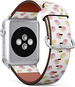 Compatible with Big Apple Watch 42mm & 44mm (All Series) Leather Watch Wrist Band Strap Bracelet with Stainless Steel Clasp and Adapters (Yellow Red Raspberries On White)