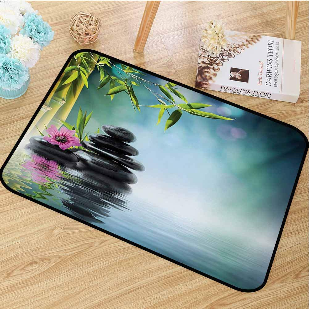 Zen Garden Welcome Door mat Pink Flower Spa Stones and Bamboo Tree on The Water Relaxation Theraphy Peace Door mat is odorless and Durable W19.7 x L31.5 Inch Multicolor