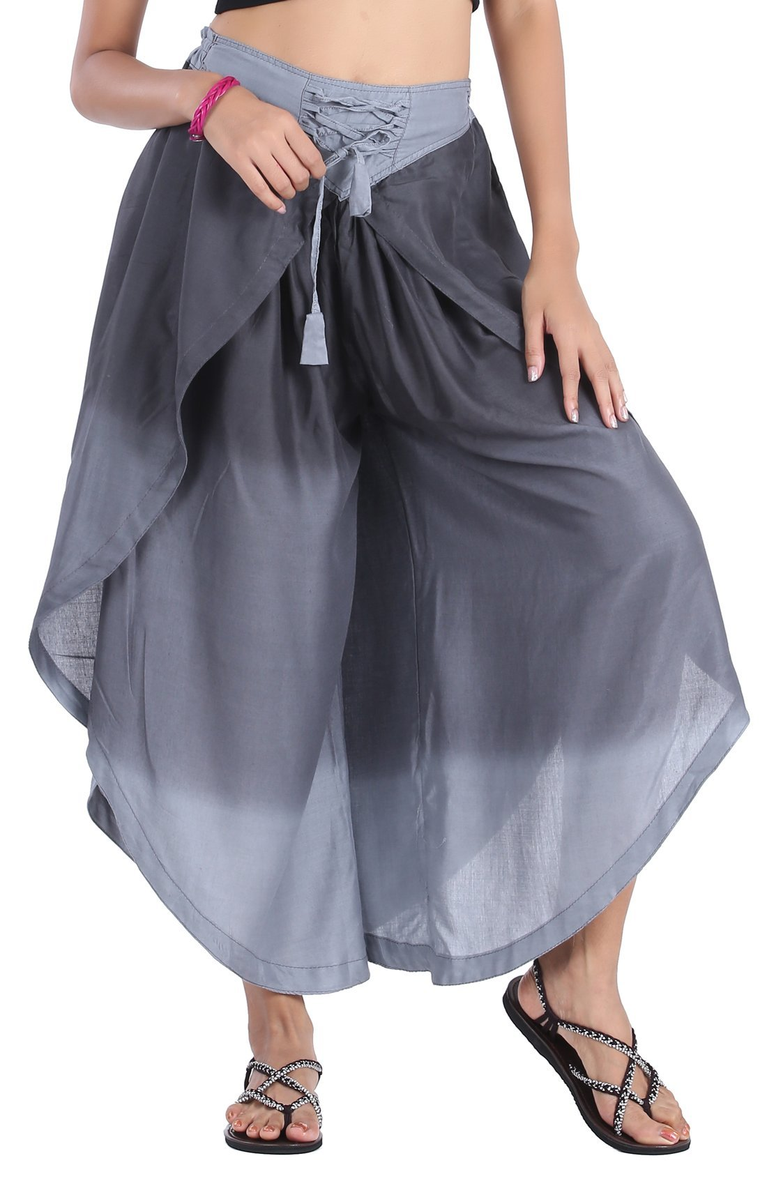CandyHusky Women's High Waist Split Layered Palazzo Wide Leg Harem Cropped Pants (Grey)