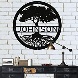 "Metal Wall Art, Personalized Family Tree, Tree of Life Wall Art, Metal Family Name Sign, Last Name Sign, Wedding Gift, Metal Wall Decor, Interior Decoration, Wall Hangings (18""W x 18""H / 45x45 cm)"